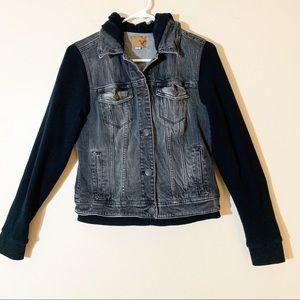 AEO Sweatshirt Sleeved Denim Jacket with Hood
